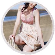 Beach Holiday Woman Round Beach Towel