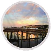 Beach Homes At Sunset Round Beach Towel by Suzanne Handel
