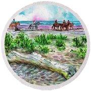Beach Horseback Riding Round Beach Towel