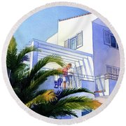 Beach House At Figueres Round Beach Towel