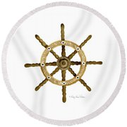 Beach House Nautical Boat Ship Anchor Vintage Round Beach Towel by Audrey Jeanne Roberts