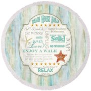 Beach House Rules - Refreshing Shore Typography Round Beach Towel