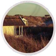 Beach Houses And Dunes Round Beach Towel