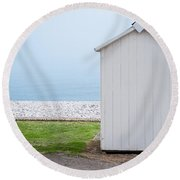 Beach Hut By The Sea Round Beach Towel