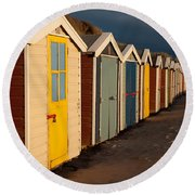 Beach Huts II Round Beach Towel