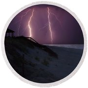 Beach Lighting Storm Round Beach Towel by Randy Steele