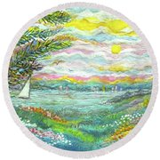 Beach Meadow Round Beach Towel