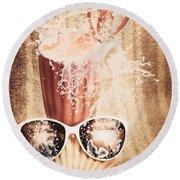 Beach Milkshake With A Strawberry Splash Round Beach Towel