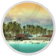 Beach On Darawan Island Round Beach Towel