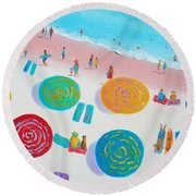 Beach Painting - A Walk In The Sun Round Beach Towel