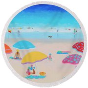 Beach Painting - Ah Summer Days Round Beach Towel
