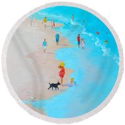 Beach Painting - Beach Day - By Jan Matson Round Beach Towel