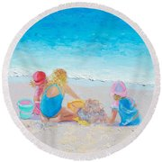 Beach Painting - Building Sandcastles Round Beach Towel