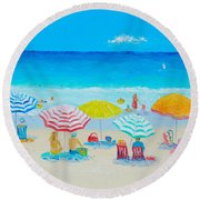 Beach Painting - Catching The Breeze Round Beach Towel by Jan Matson