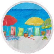 Beach Painting - Deck Chairs Round Beach Towel