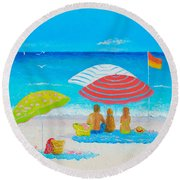 Beach Painting - Endless Summer Days Round Beach Towel