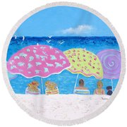 Beach Painting - Lazy Summer Days Round Beach Towel