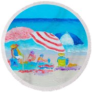 Beach Painting - Summer Beach Vacation Round Beach Towel