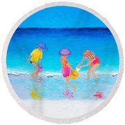 Beach Painting - Water Play  Round Beach Towel