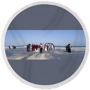 Beach Panoramic Wedding  Round Beach Towel