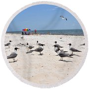 Round Beach Towel featuring the photograph Beach Party by Jan Amiss Photography
