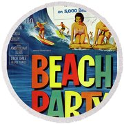 Beach Party Lobby Promo With Frankie Avalon Autograph  1963 Round Beach Towel by Daniel Hagerman