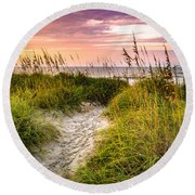 Beach Path Sunrise Round Beach Towel