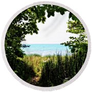 Round Beach Towel featuring the photograph Beach Path With Snake Grass by Michelle Calkins