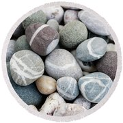 Round Beach Towel featuring the photograph Beach Pebbles Close Up by Elena Elisseeva
