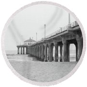 Beach Pier Film Frame Round Beach Towel
