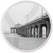 Beach Pier Film Frame Round Beach Towel