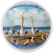 Flying Lamb Productions            Pelicans   Beach Platoon Round Beach Towel