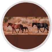 Beach Ponies - Wild Horses In The Dunes Round Beach Towel