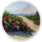Beach Roses Round Beach Towel