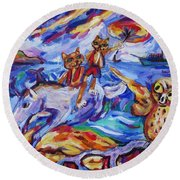 Round Beach Towel featuring the painting Beach Run by Dianne  Connolly