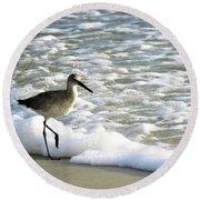 Beach Sandpiper Round Beach Towel by Kathy Long