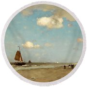 Round Beach Towel featuring the painting Beach Scene by Jan Hendrik Weissenbruch
