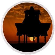 Beach Shelter At Sunset Round Beach Towel