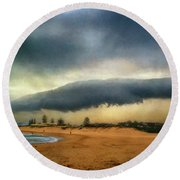 Round Beach Towel featuring the photograph Beach Storm At Sunset By Kaye Menner by Kaye Menner