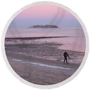 Beach Stroll Round Beach Towel by John Scates