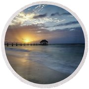 Beach Sunrise Round Beach Towel by Dennis Hedberg