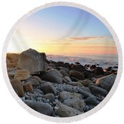 Beach Sunrise Over Rocks Round Beach Towel