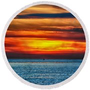 Round Beach Towel featuring the photograph Beach Sunset And Boat by Mariola Bitner