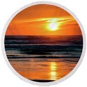 Round Beach Towel featuring the photograph Beach Sunset by Bryan Carter