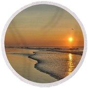 Topsail Nc Beach Sunrise Round Beach Towel