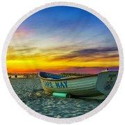 Beach Sunset In Cape May Round Beach Towel
