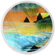 Round Beach Towel featuring the painting Beach Sunset by Jenny Lee