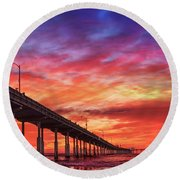 Beach Sunset Ocean Wall Art San Diego Artwork Round Beach Towel