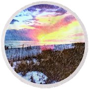 Round Beach Towel featuring the photograph Beach Sunset by Susan Leggett