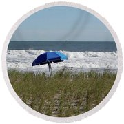 Round Beach Towel featuring the photograph Beach Umbrella by Denise Pohl